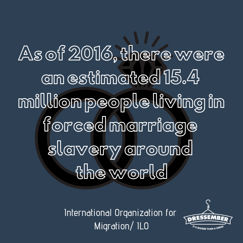 "According to the UN, forced marriage is ""an institution or practice where individuals don't have the option to refuse or are promised and married to another by their parents, guardians, relatives or other people and groups"". This practice is most common in Africa, South Asia, and former Soviet republics, but still happens in countries within North America and Europe as well. Forced marriage can be coupled with other forms of slavery such as sex or labor trafficking. Today I'm wearing a (dress/tie) because I believe that no one should be forced to marry without consent. You can show your support by donating to my campaign here: (enter fundraising link). #dressember #itsbiggerthanadress #endslavery #themoreyouknow"
