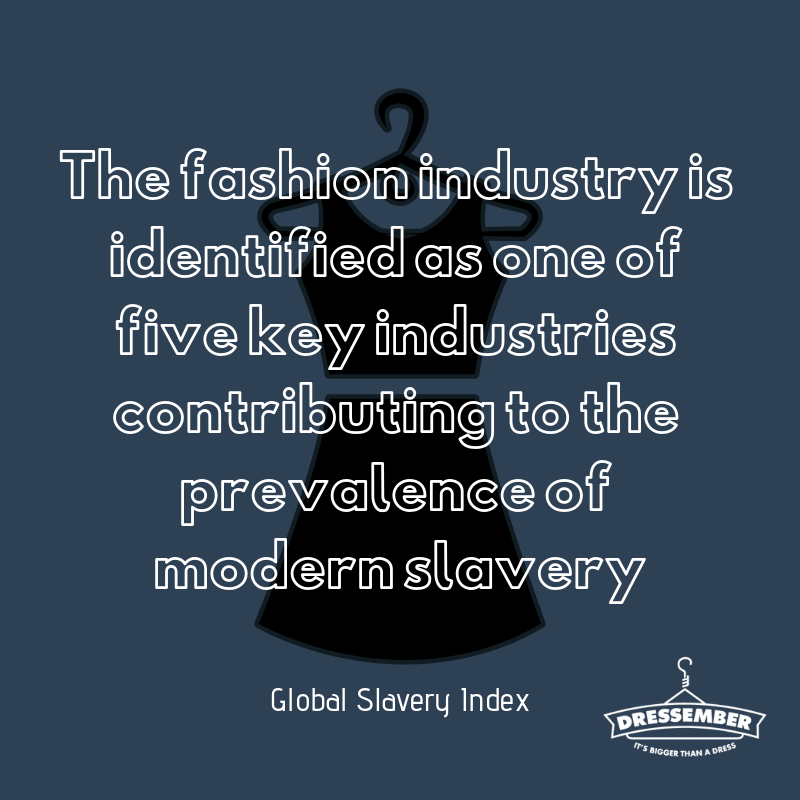 "For many fashion companies, modern slavery is difficult to eliminate from every part of the supply chain as it can be present at every stage of production from the garment factories to the collection of raw materials. Driving the use of slave labor is the demand for ""fast fashion"", which is defined by its low cost and high turnover of products. However, greater brand transparency and consumer awareness can (and have) effected change! The number of ethical fashion brands offering sustainable, slave-free alternatives to fast fashion has increased dramatically within recent years and represent a wide array of offerings. Using apps like ""Good on You"" or downloading the ""Done Good"" browser extension are two ways that you can see how your favorite brands rate for labor practices. On day 15 of @Dressember, I wear my (dress/tie) as an opportunity to use fashion to end slavery instead of contributing to it. You can help me raise my goal of (enter goal amount here) by donating here (enter fundraising link). #dressember #itsbiggerthanadress #endslavery #themoreyouknow #ethicalfashion"