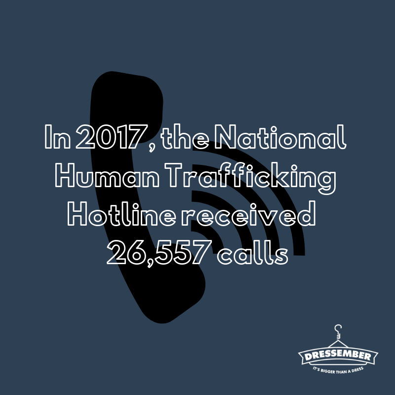 Did you know that in 2017, the National Human Trafficking Hotline received over 26,000 calls? Did you know that the majority of human trafficking cases go unreported, so that number is only a small estimate of the number of cases that happened last year. I'm wearing my (dress/tie) today to raise awareness to increase reporting for people who are in trafficking situations. Would you contribute to help me reach my goal of (enter goal amount here) by donating here: (enter fundraising link). #dressember #itsbiggerthanadress #endslavery #themoreyouknow