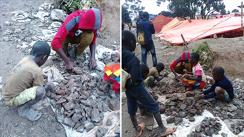 Photo of child laborers sorting and crushing cobalt. (CNN)