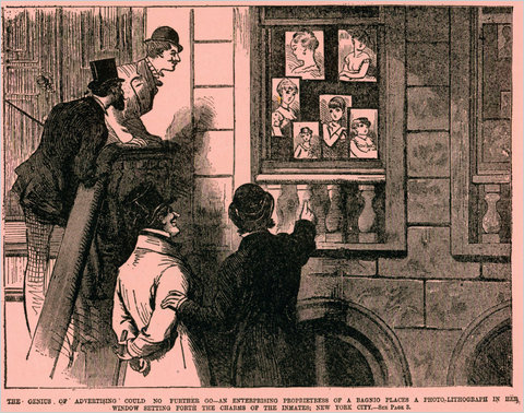 "PHOTO: National Police Gazette - A drawing titled ""The Genius of Advertising"" from an 1880 issue of the National Police Gazette shows men outside a brothel gazing at pictures of some of the attractions awaiting them inside."