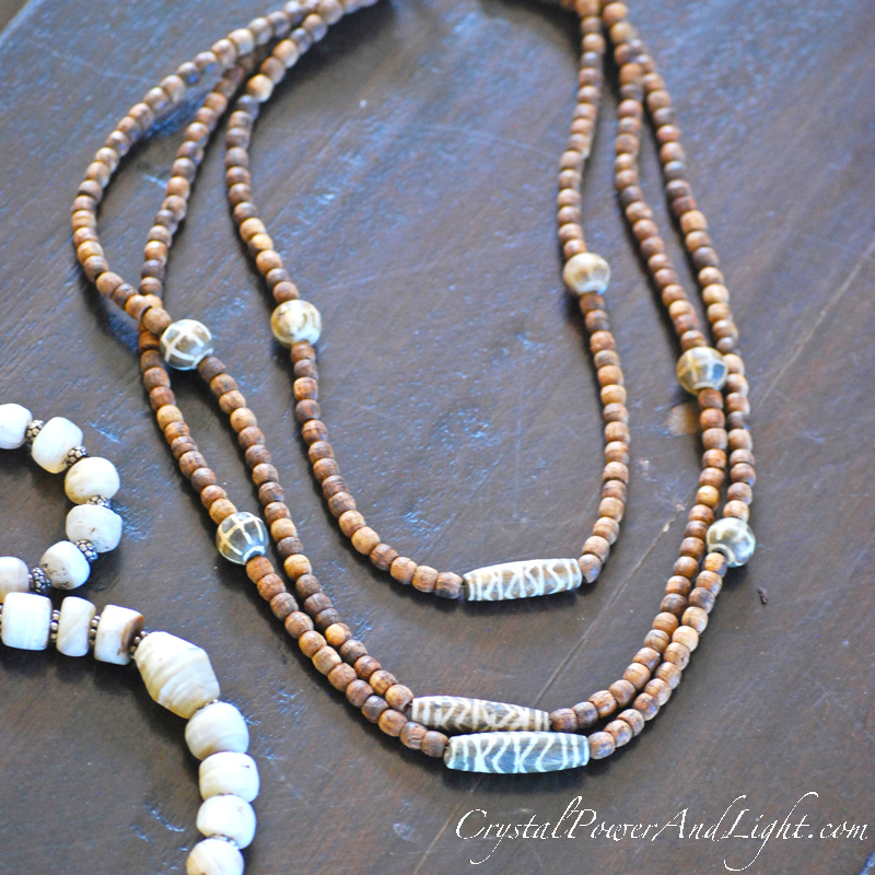 Crystal Power and LIght Wooden bead necklace