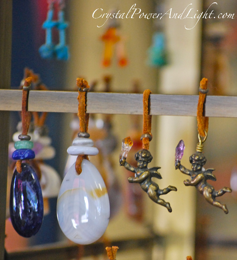 crystal power and light pendants agates angels crystals