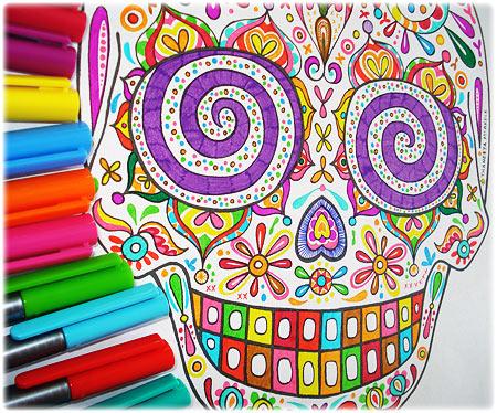 Colorful Sugar Skull Coloring Page