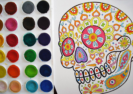 An example of coloring the sugar skull with watercolor paints