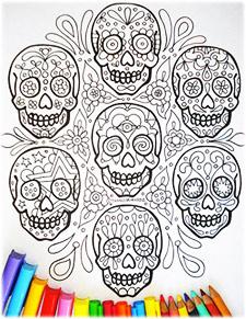 Sugar Skull Coloring Page by Thaneeya