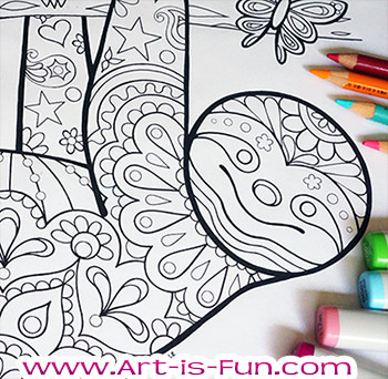 Groovy Animals Coloring Pages - Fun Printable E-Book of 20 Detailed Animals  to Color — Art is Fun