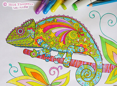 Chameleon Coloring Page by Thaneeya