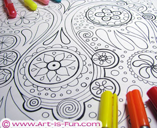 Abstract Coloring Book Art by Thaneeya