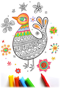 Printable Bird Coloring Page by Thaneeya