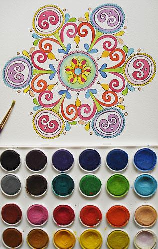 用水彩画着色的曼荼罗