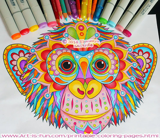 Thaneeya可爱的万博体育2018版黑猩猩着色页