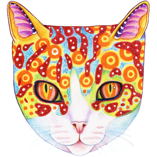 Cute and Colorful Cosmic Cat by Thaneeya McArdle