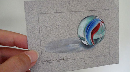 Realistic Drawing of a Marble by Thaneeya