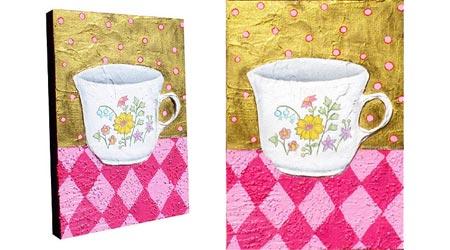 茶杯丙烯介质画