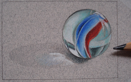 Drawing a photorealist marble on Art is Fun