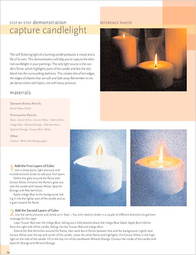 Drawing Candlelight in Colored Pencil