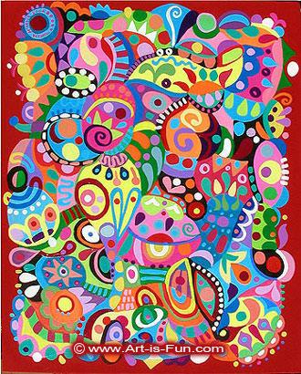 Acrylic抽象艺术由Thaneeya