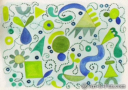 蓝色和绿色水彩抽象艺术