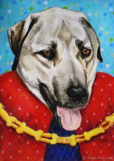 完成混合媒体的狗的肖像由Thaneeya