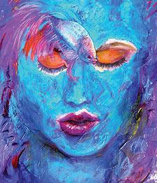 Blue Oil Painting Portrait