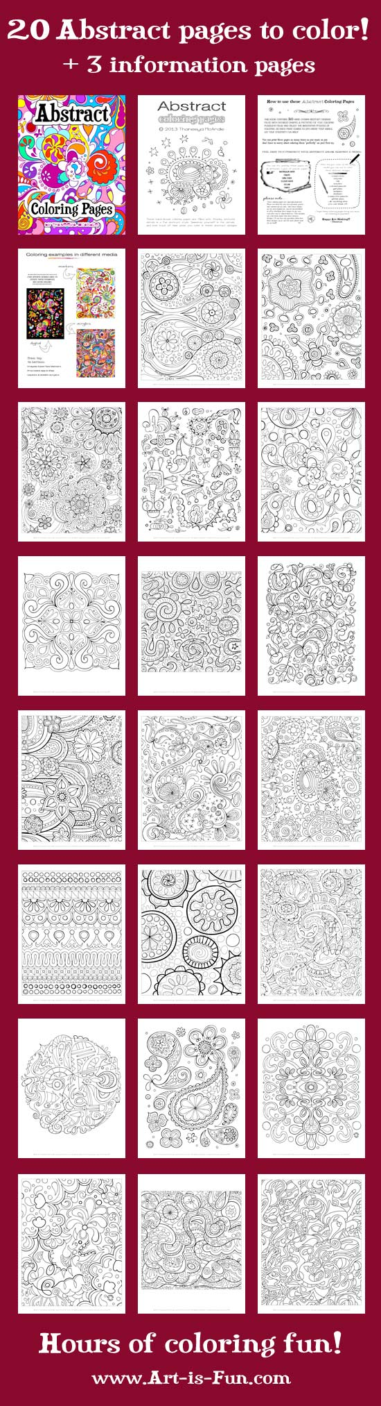 Free Abstract Coloring Page To Print: Detailed, Psychedelic