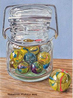 Jar of Marbles Photorealist Art by Thaneeya
