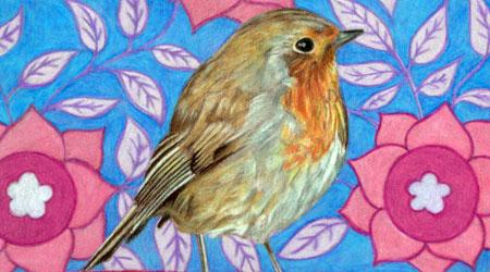 彩色铅笔鸟画