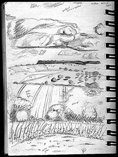 我在长途跋涉在苏塞克斯乡村时勾勒出这个场景。如果你仔细观察,你可以看到一些关于颜色的微小潦草的笔记。