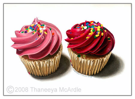 "Two Pink Cupcakes   - 5"" x 7"" - Acrylic on Wood Panel"