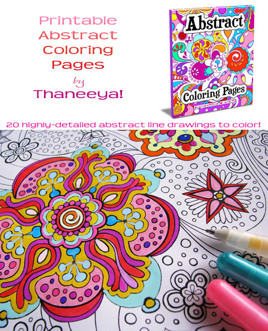Printable Abstract Coloring Pages by Thaneeya