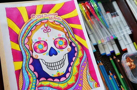 Sugar Skull Gypsy Mary Coloring Page Art by Thaneeya