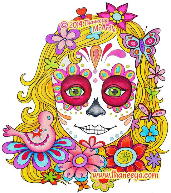 Sugar Skull Girl Coloring Page
