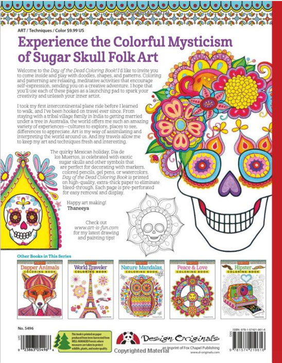 Day of the Dead Coloring Book Back Cover