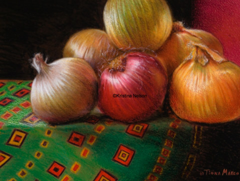 Crayon Onion Art by Kristina Nelson