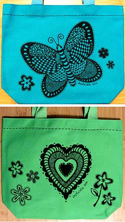 Doodles on tote bags