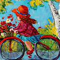 Girl Riding Bicycle Painting