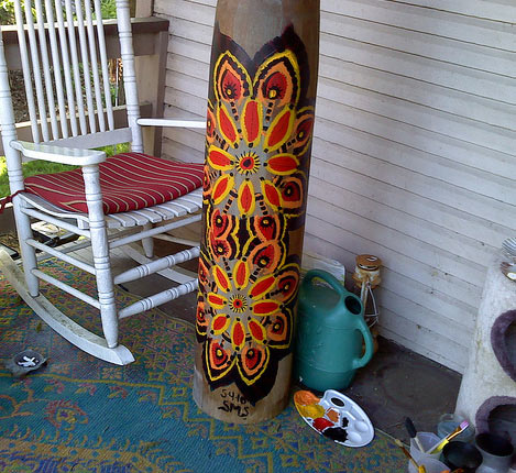Pole painted with mandala designs by Stephanie Smith