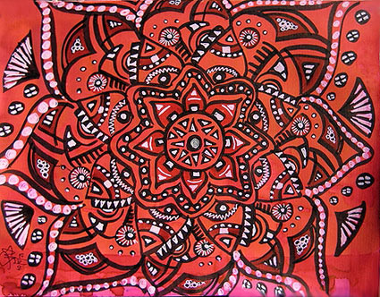 Red Mandala Painting by Stephanie Smith