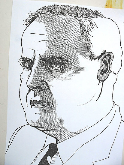 Pen and ink portrait by Richard Tuvey