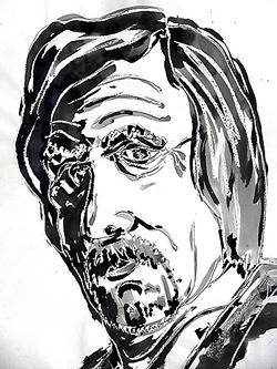 Pen, ink and wax portrait