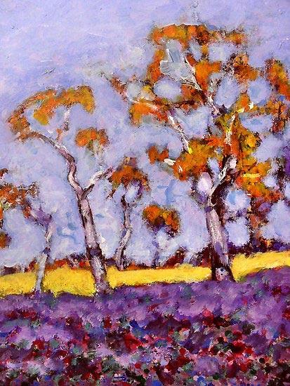 Acrylic landscape painting by Richard Tuvey, painted near Binni Creek, Cowra, NSW.