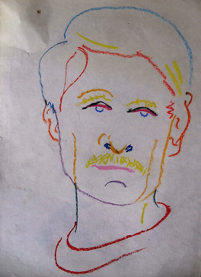 Oil pastel self-portrait by mixed media artist Richard Tuvey  (Note the economy of line and varying color choices)