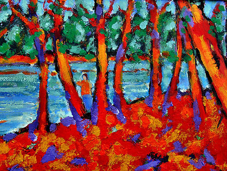 Post Impressionist Acrylic Painting by Richard Tuvey
