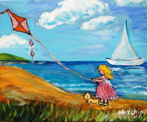 Whimsical Naive Seaside Painting