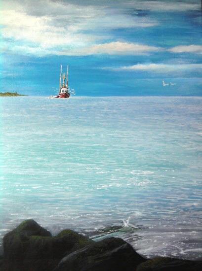 Herring Run Boat Painting