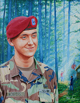 "16"" x 20"" oil painting portrait of the first soldier from The Woodlands, Texas, killed in Iran. The background tells of his childhood with a friend."
