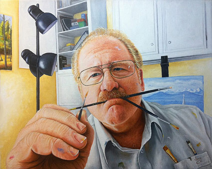 The finished self portrait oil painting, by Mike Ivey.