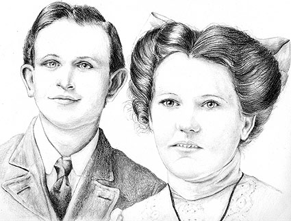 "11"" x 14"" pencil drawing of Mike's grandparents on their wedding day."