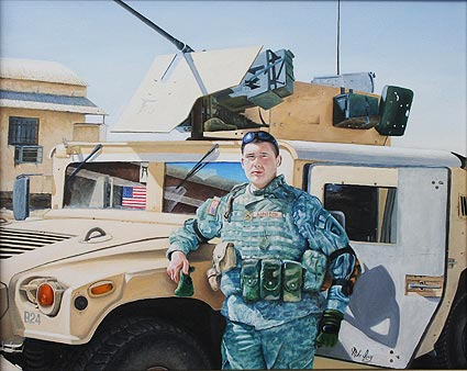 "16"" by 20"" oil painting portrait on canvas of a soldier in Iran next to his Hummer. It was done from photos taken in Iran."